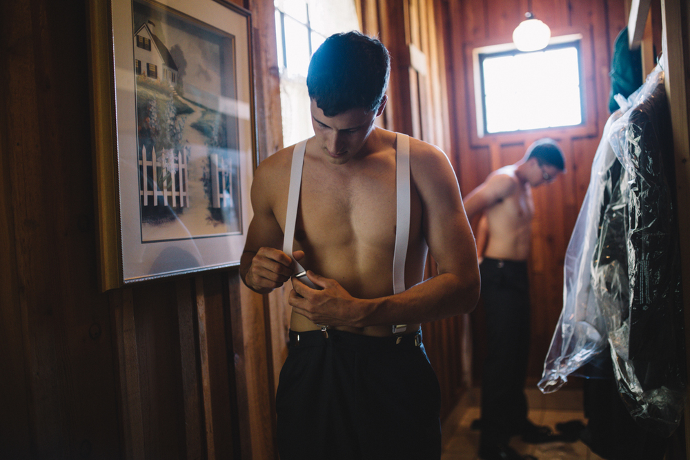 Groomsmen preparing for the wedding King Francis Park Forest Wedding Ceremony Vancouver Island