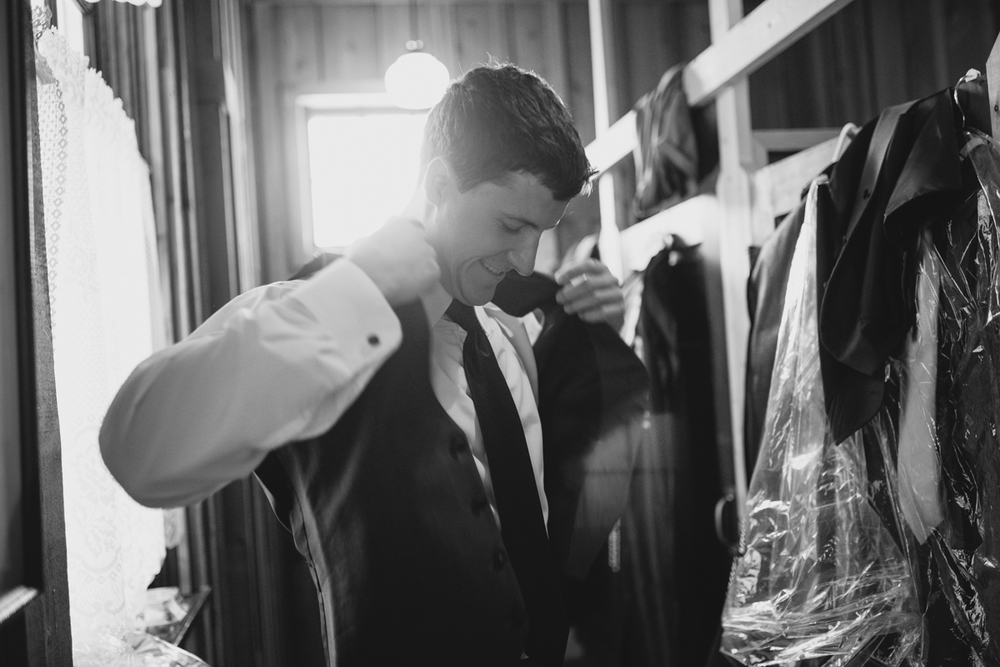 The Groom wearing his suit King Francis Park Forest Wedding Ceremony Vancouver Island