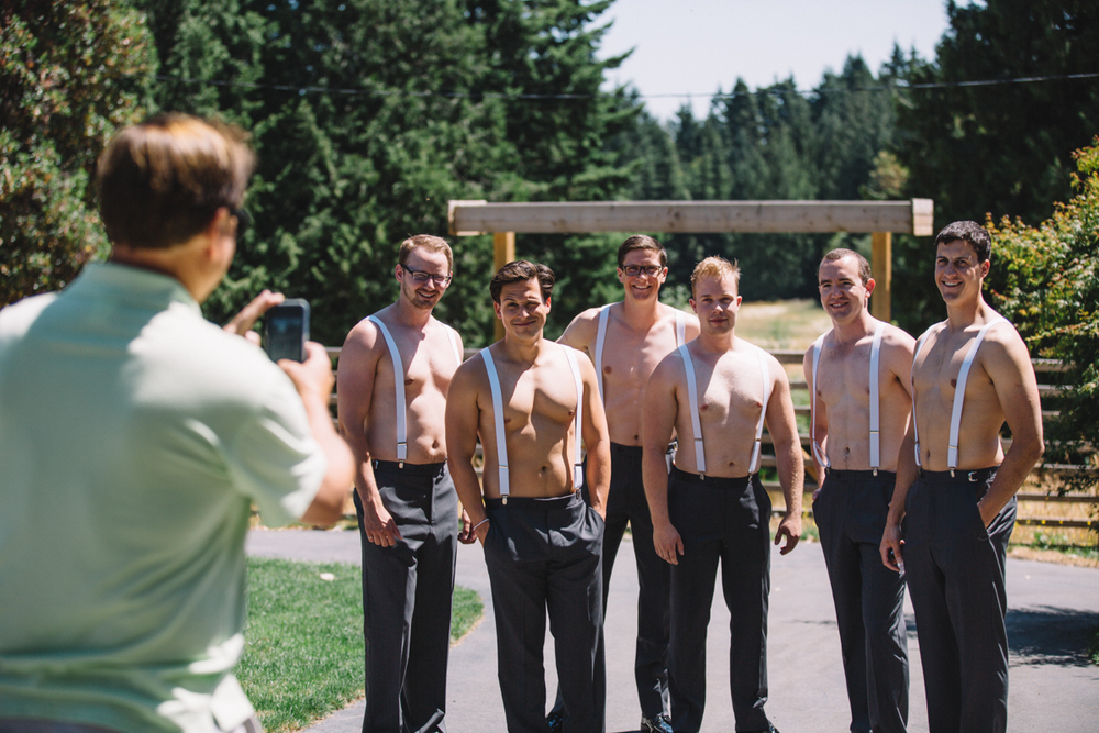 The Groomsmen up for a photo King Francis Park Forest Wedding Ceremony Vancouver Island
