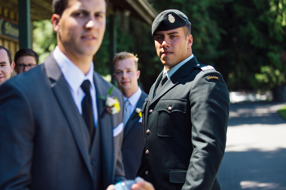 The Groom waiting for his bride King Francis Park Forest Wedding Ceremony Vancouver Island