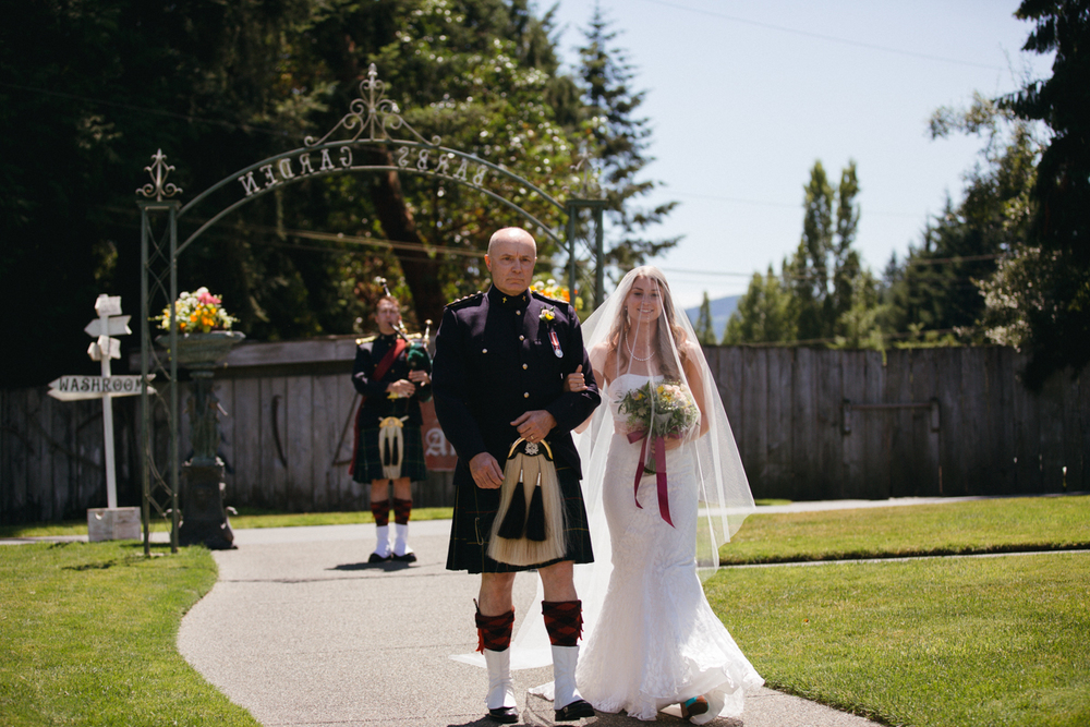 The Bride and Her escort King Francis Park Forest Themed Wedding Ceremony Vancouver Island