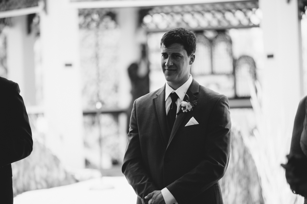 The Groom in a black and white photo King Francis Park Forest Wedding Ceremony Vancouver Island