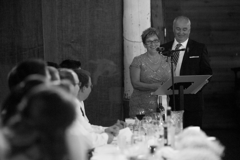 Parents of the newly wed couple making the speech wedding reception Clear Lake Manitoba