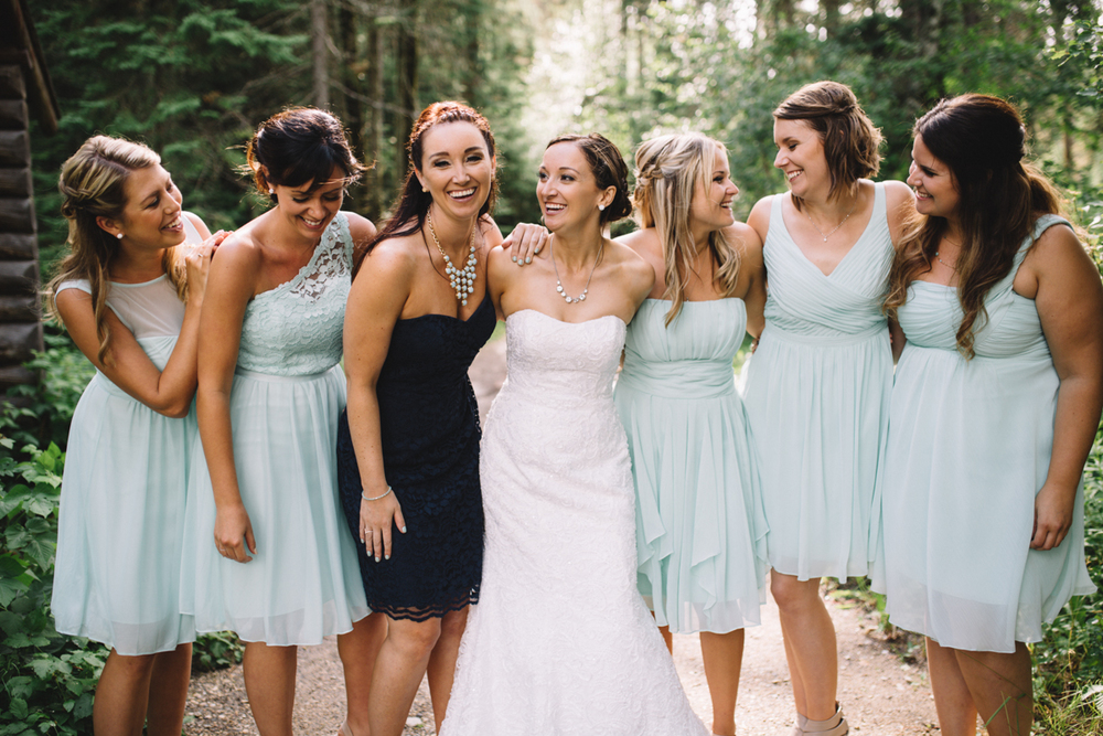 Bride's main, Maid of Honor and Bride Provincial Park wedding Clear Lake Manitoba