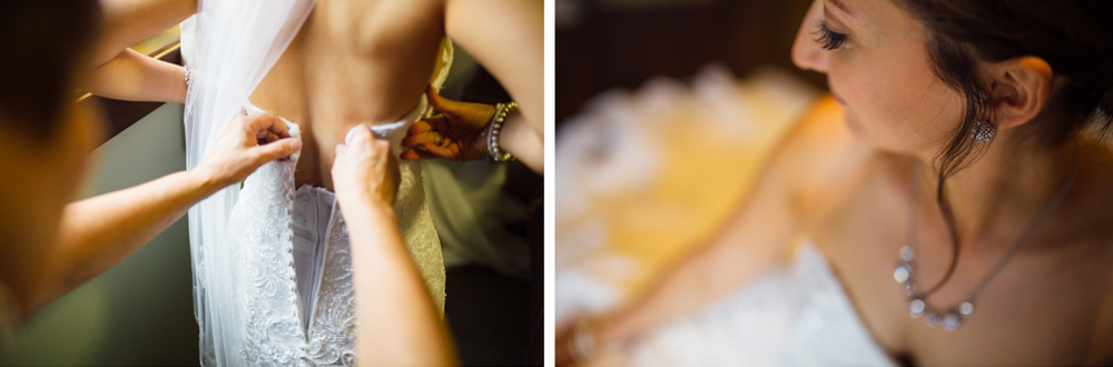 Bride with her jewelry and gown preparations Clear Lake Manitoba wedding