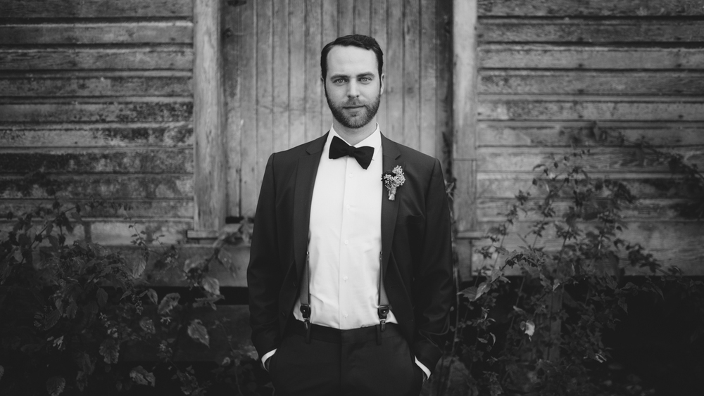 Black and White photo of the Groom Forest Wedding Ceremony King Francis Park Vancouver Island