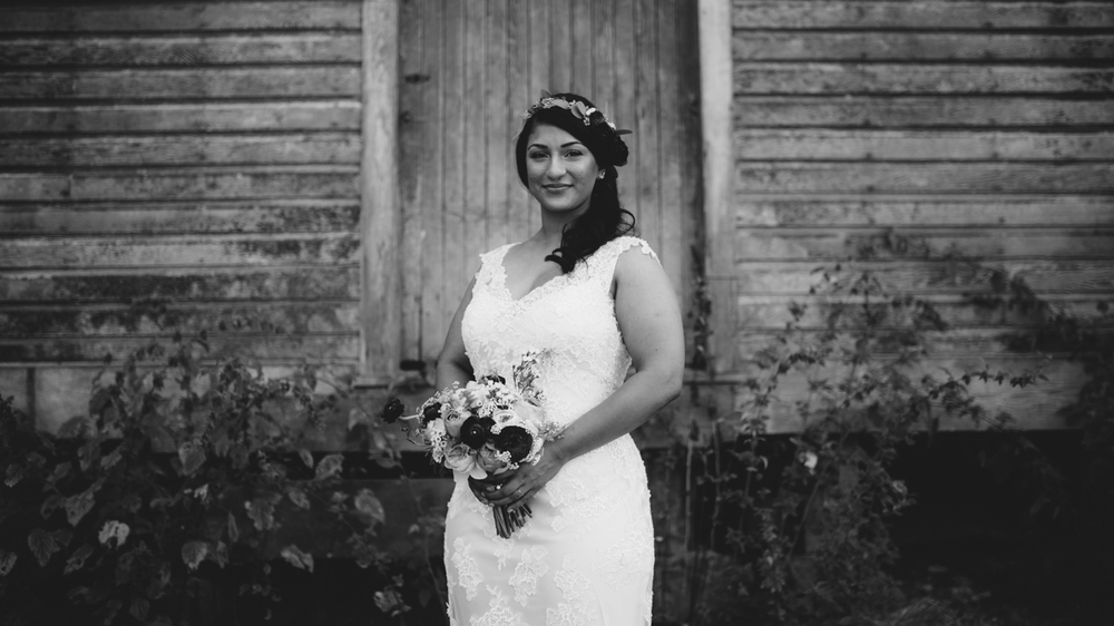 Black and White photo of the Bride Forest Wedding Ceremony King Francis Park Vancouver Island