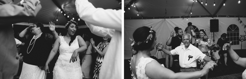 Black and White Photo of the dancing at wedding reception The Guild King Francis Park Forest Wedding Ceremony Vancouver Island