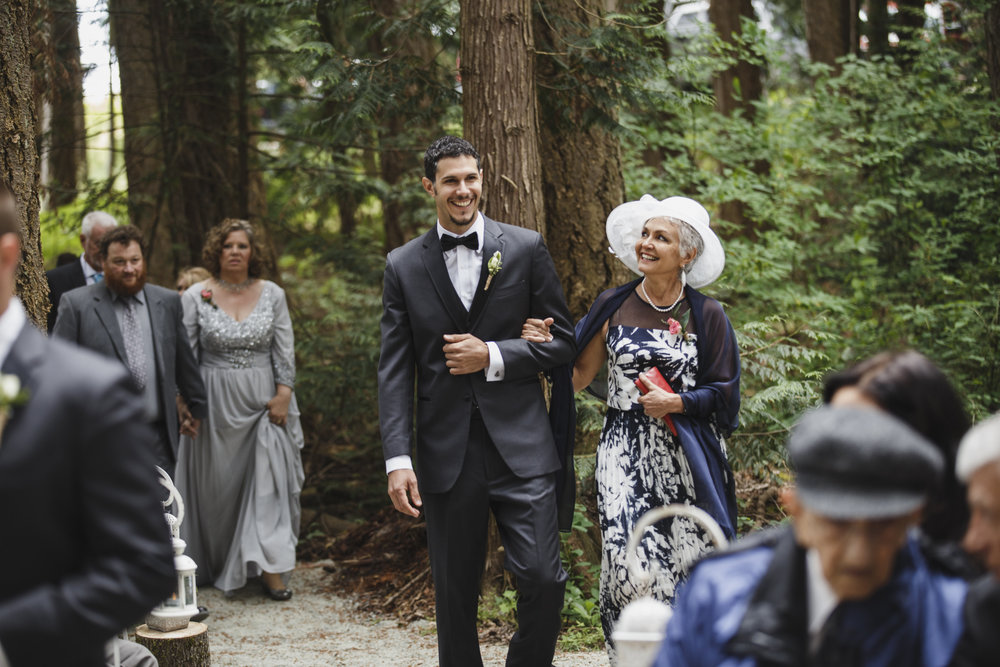 Groom walking down the isle Forest wedding Tofino Sea Cider Vancouver Island