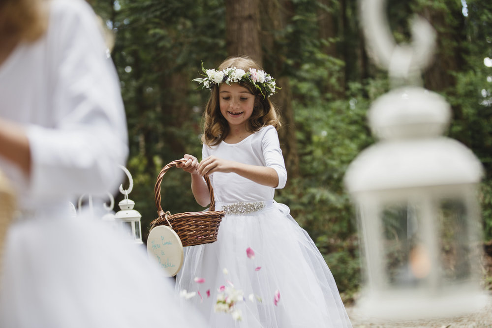 flower girl forest wedding ceremony Sea Cider Tofino Vancouver Island