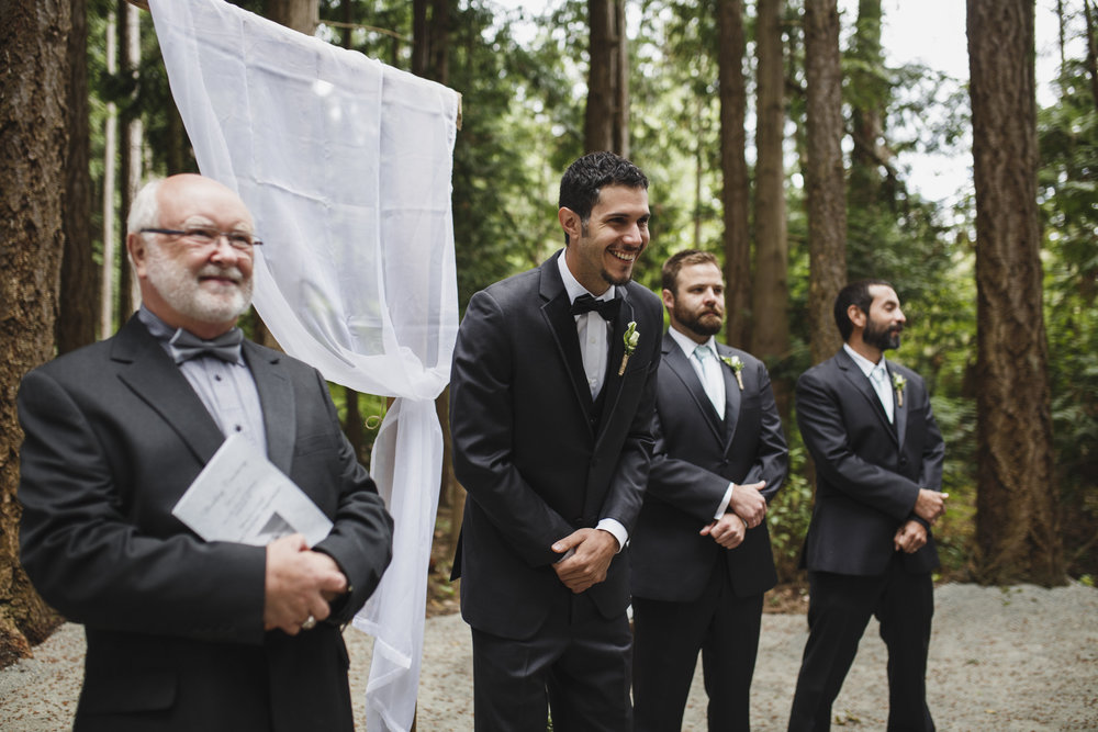 The Groom smiling Forest wedding Tofino Sea Cider Vancouver Island