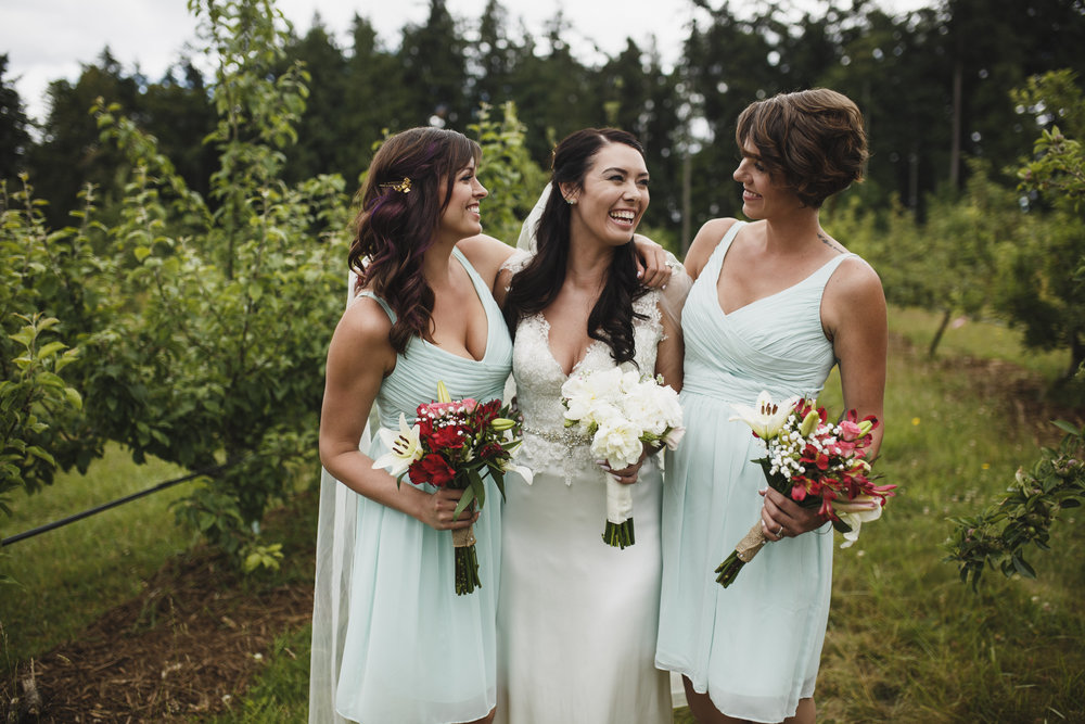 Bride with her bridesmaid Forest wedding Tofino Sea Cider Vancouver Island