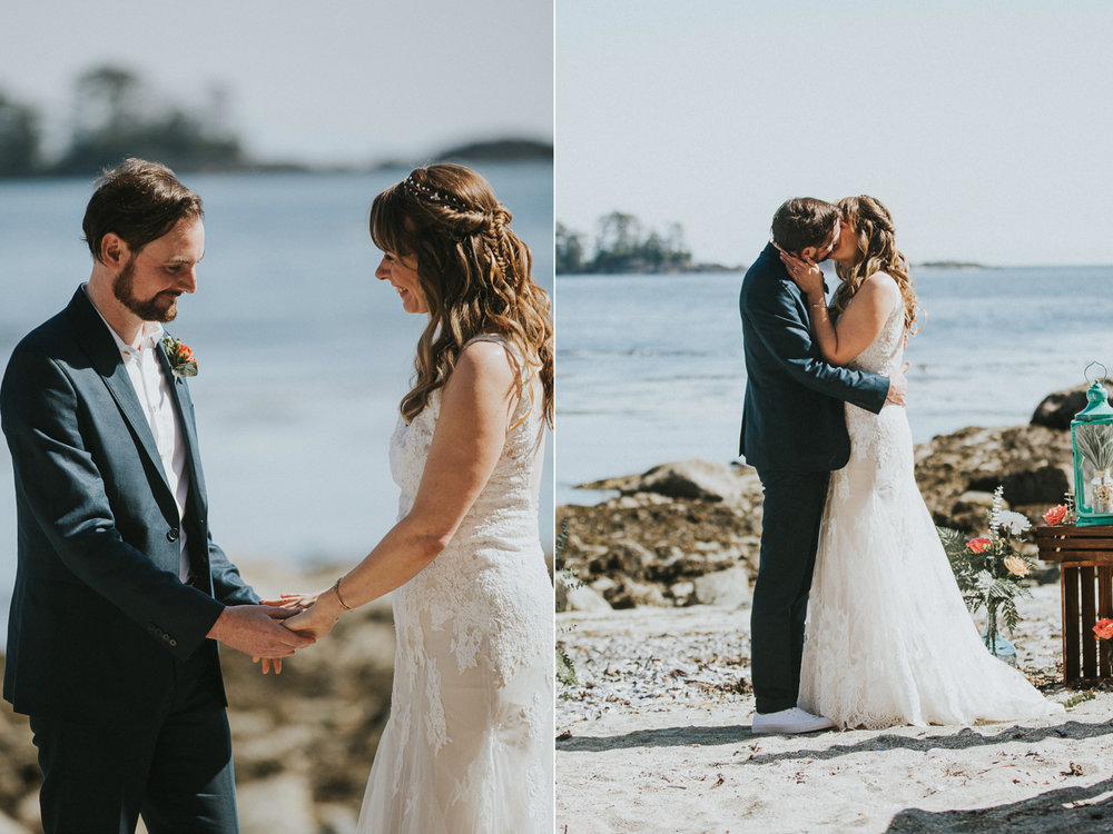 couple kisses at wedding seashell beach wickaninnish inn