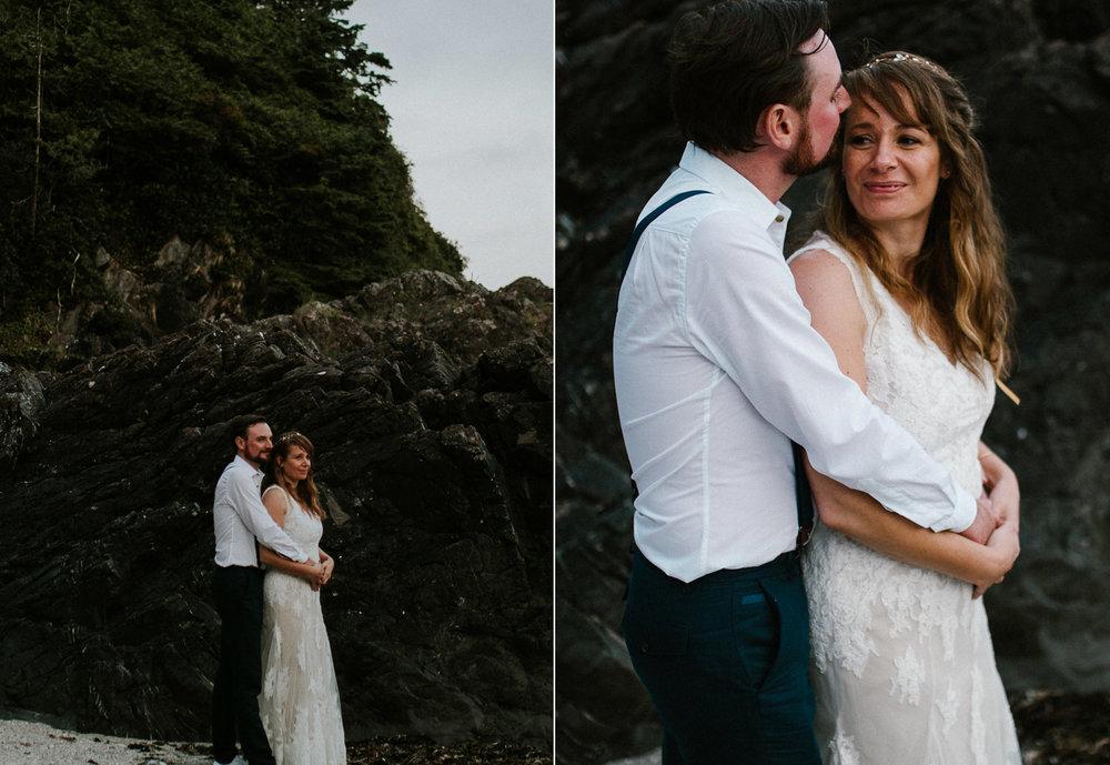 couple sunset tofino beach wedding wickaninnish inn