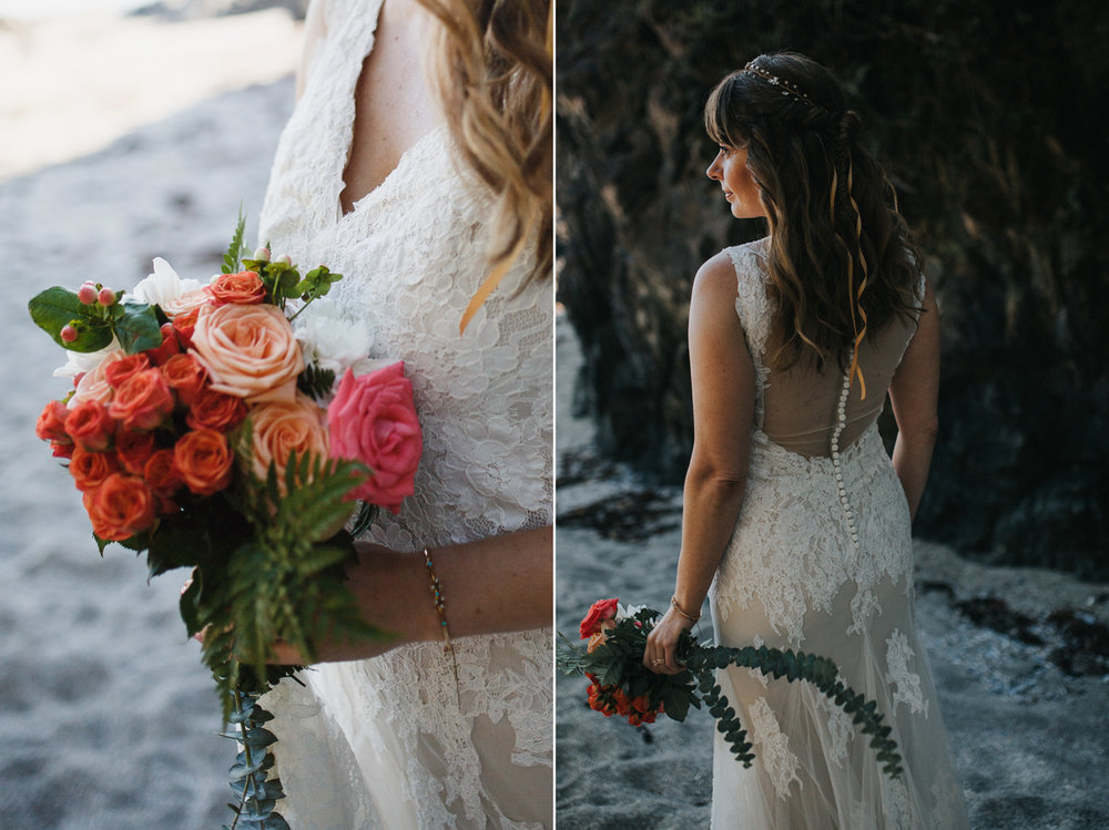 bride on seashell beach at tofino wedding