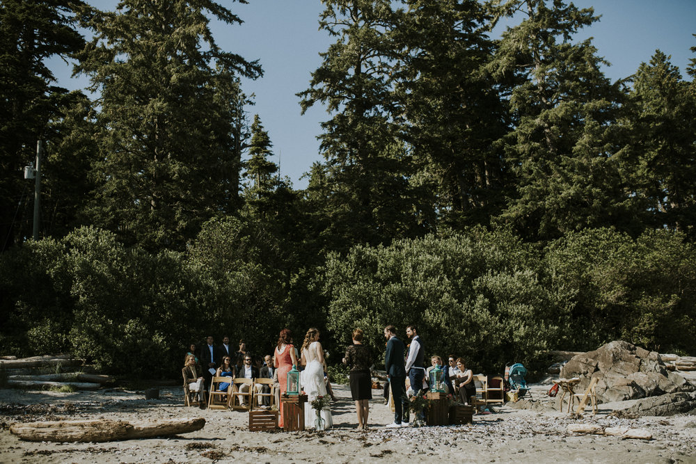 wedding ceremony on seashell beach wickaninnish inn tofino