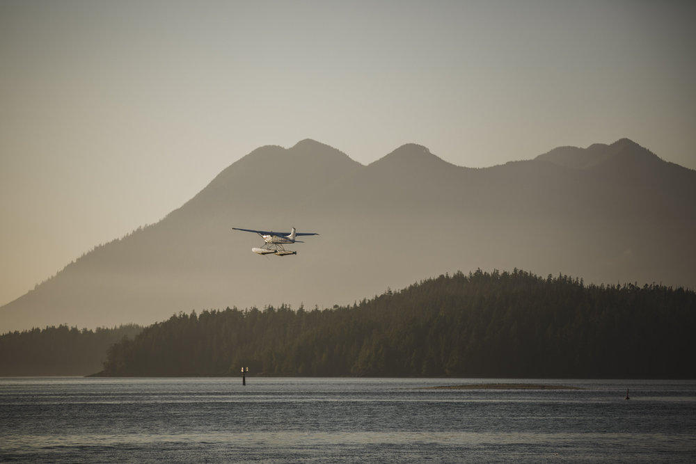 float plane in tofino sunset beach wedding
