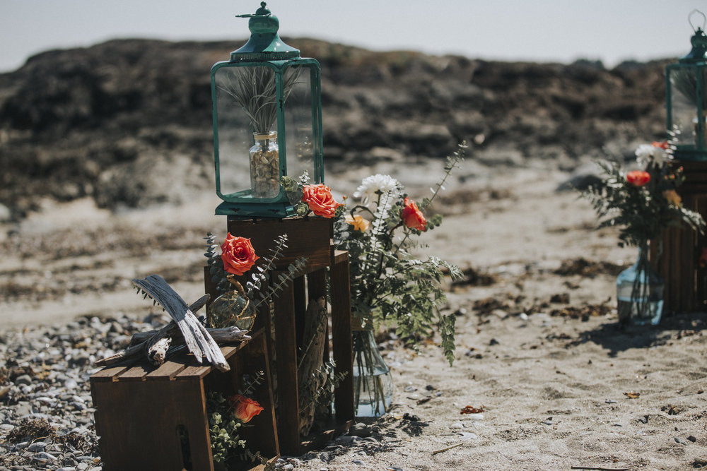 decorations at ceremony on seashell beach wedding tofino