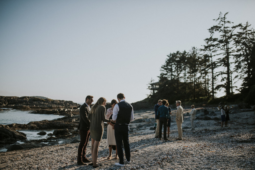 guests on beach wedding wickaninnish inn