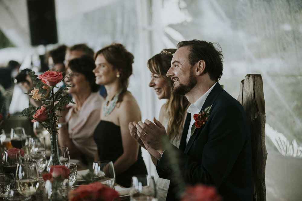 bride and groom wedding reception tofino wickaninnish inn
