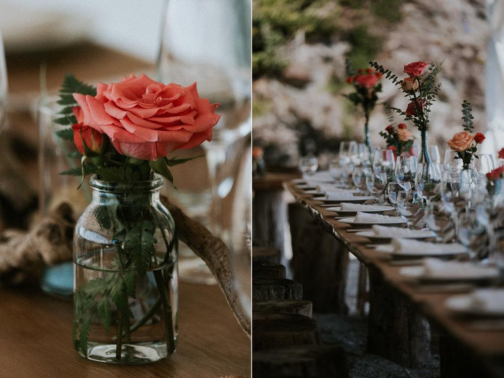 flowers table setting beach wedding reception tofino