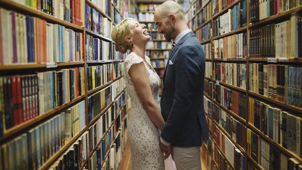 wes anderson wedding, victoria bc, vancouver island, bridal portraits bookstore