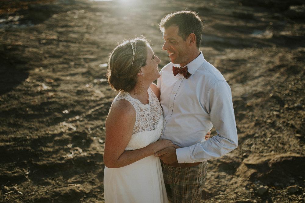 bride groom golden hour beach wedding