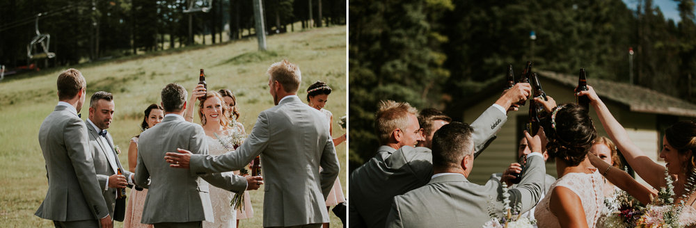 wedding guests celebrate mt norquay weddding banff