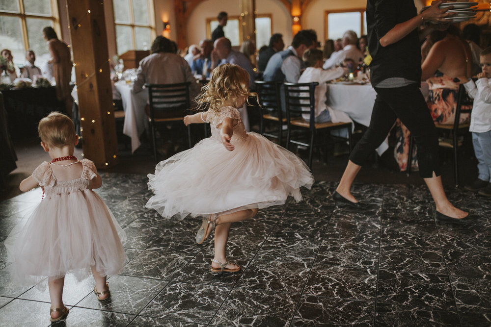 flower girl dances at reception mt norquay banff