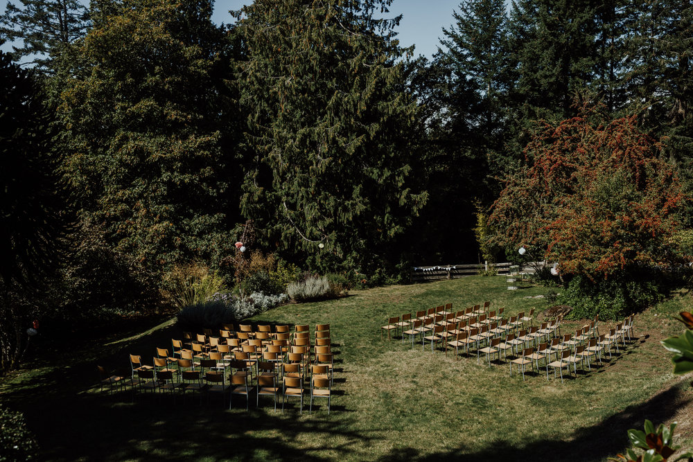 chairs at ceremony site backyard wedding, vancouver island