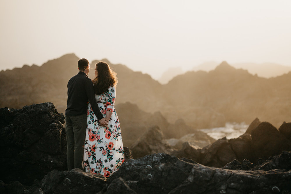 engaged couple looks out at ocean Big Beach, Ucluelet wedding photographer