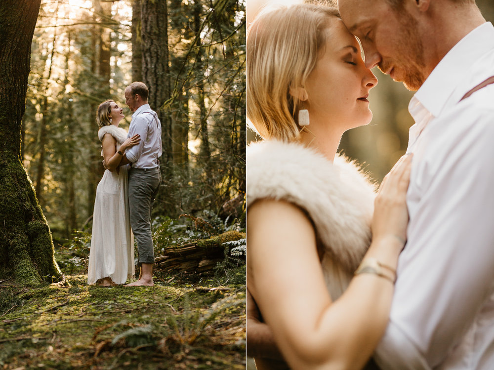 Couple enbraces in the forest Fairytale Engagement Victoria BC