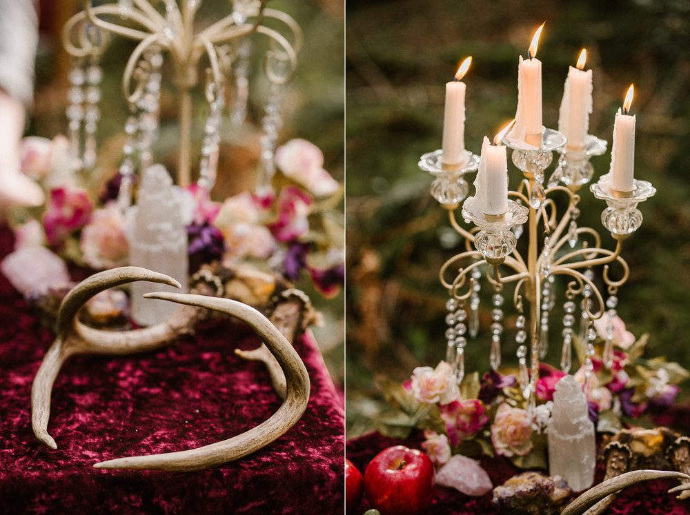 Candles and Deer's horn in a table Forest Engagement Fairytale wedding Victoria