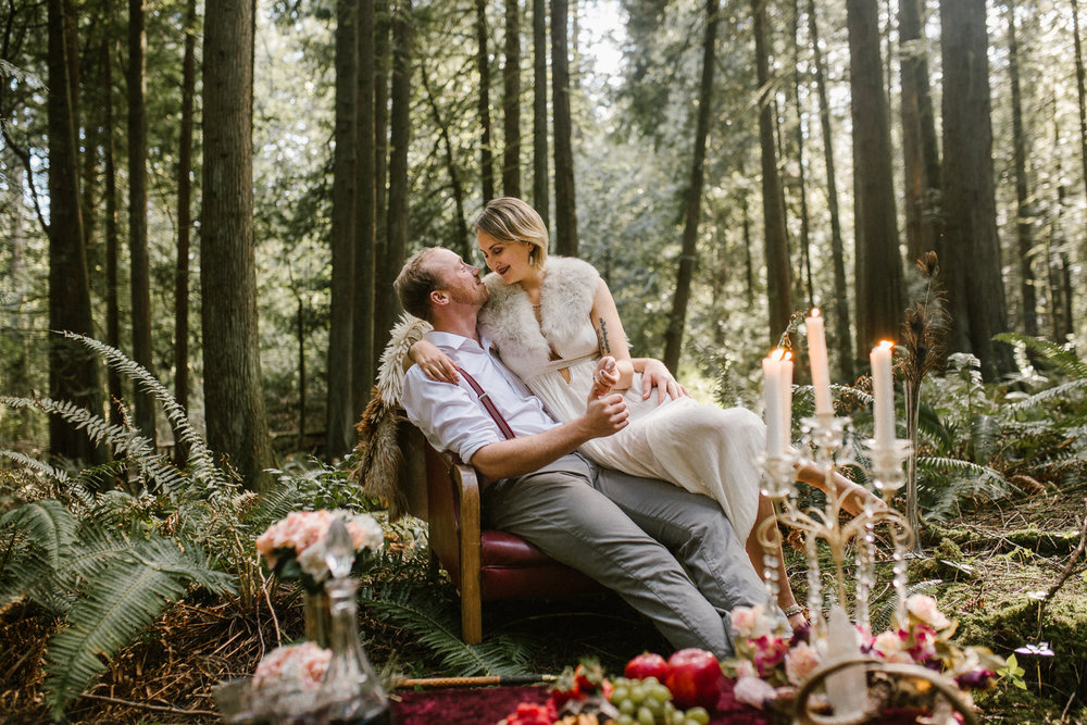 victoria engagement photographer, couple in forest