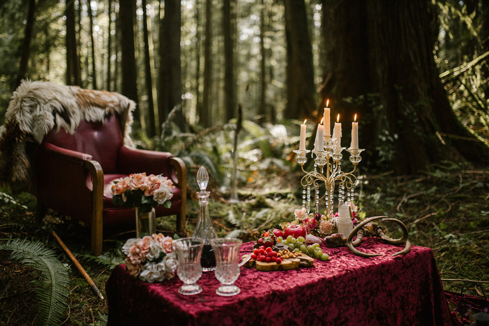 A fairytale like table setup Forest Engagement Fairytale Victoria BC