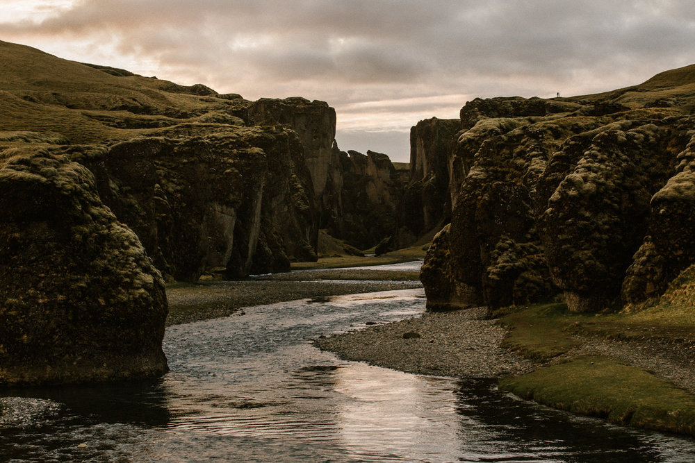 base of Fjaðrárgljúfur canyon at sunset
