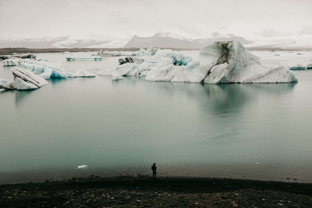 man at Jokulsarlon Glacier Lagoon iceland