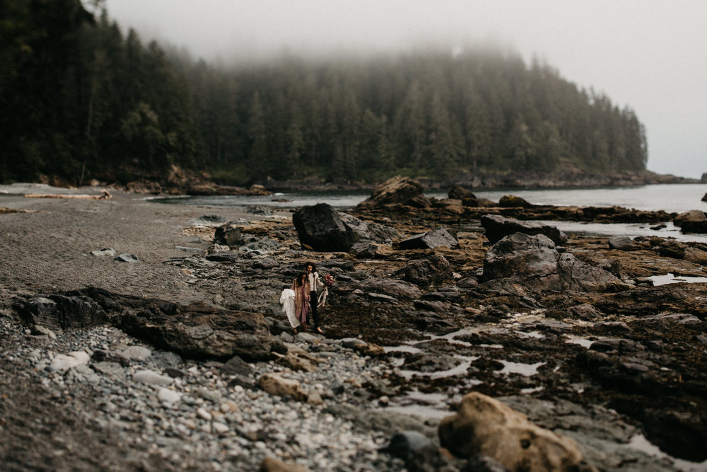 The rocky shoreline Sombrio Beach Vancouver Island elopement
