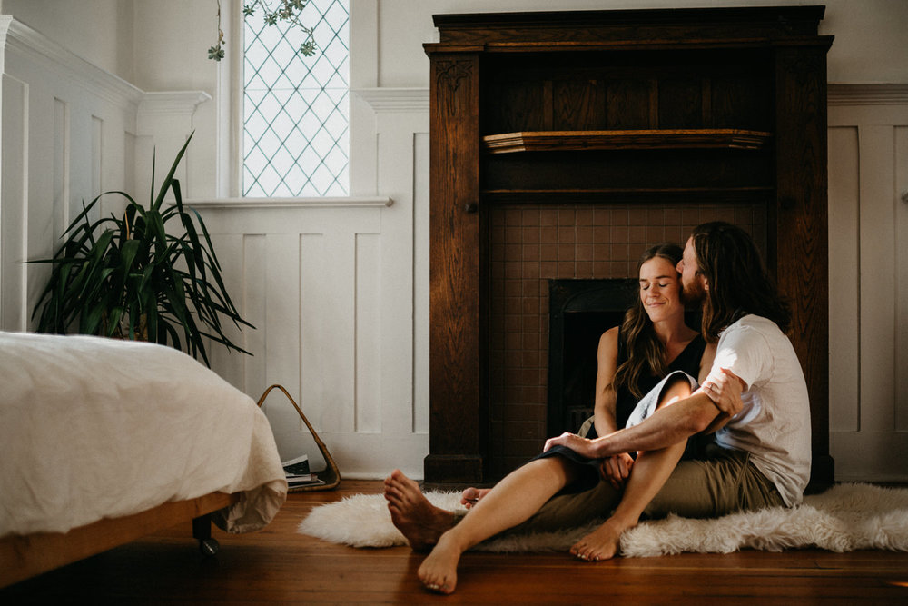 couple cuddles at home Victoria wedding photographer