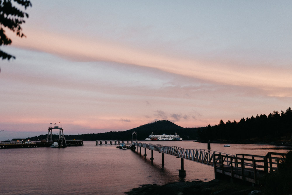 Golden Skies above a bridge Galiano Inn Wedding