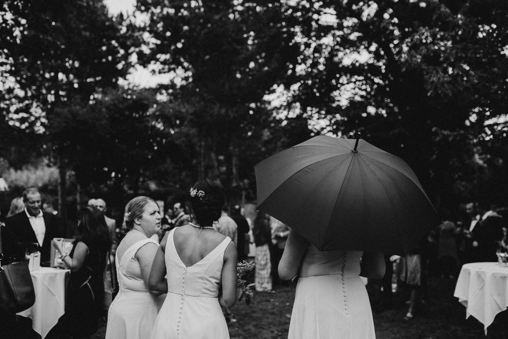 Rainy and Foggy wedding reception Galiano Inn Wedding Ceremony