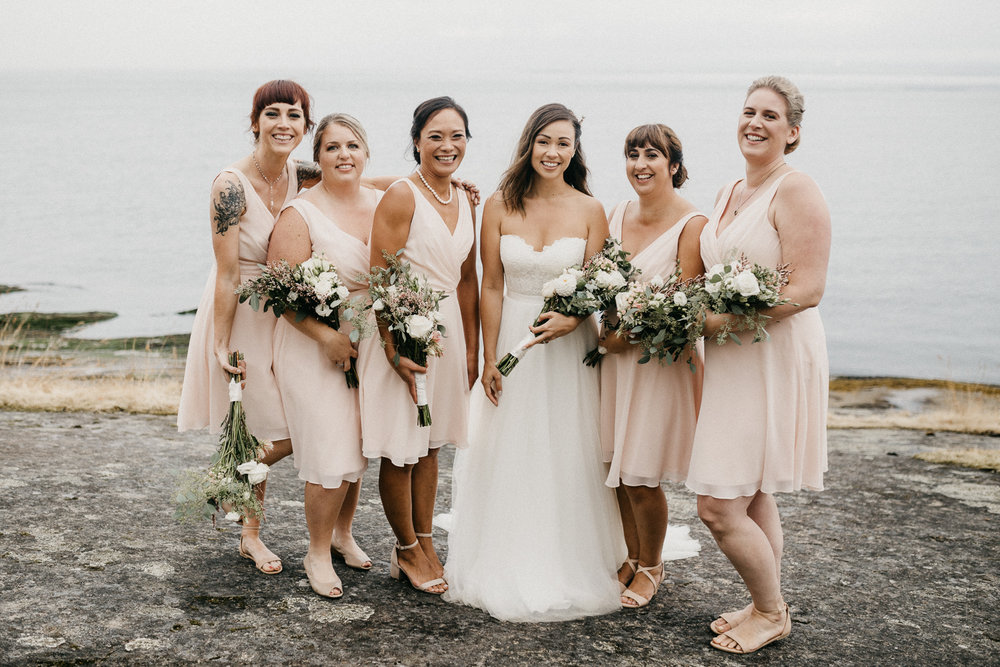 The Bride and her Bridesmaids Galiano Island Wedding