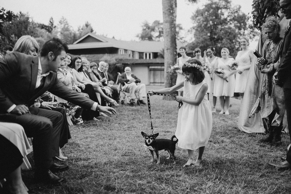 Little girl with her dog Galiano Inn Wedding