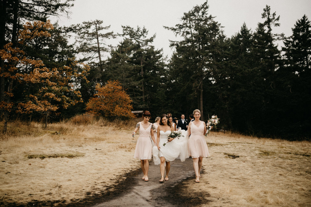 The Bridesmaids walking in the forest path Galiano Island Wedding