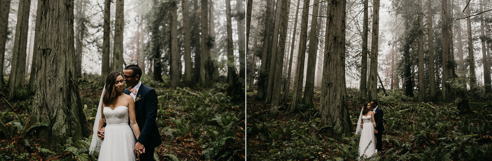 Newly wed couple bride and groom in a foggy forest Galiano Island Wedding