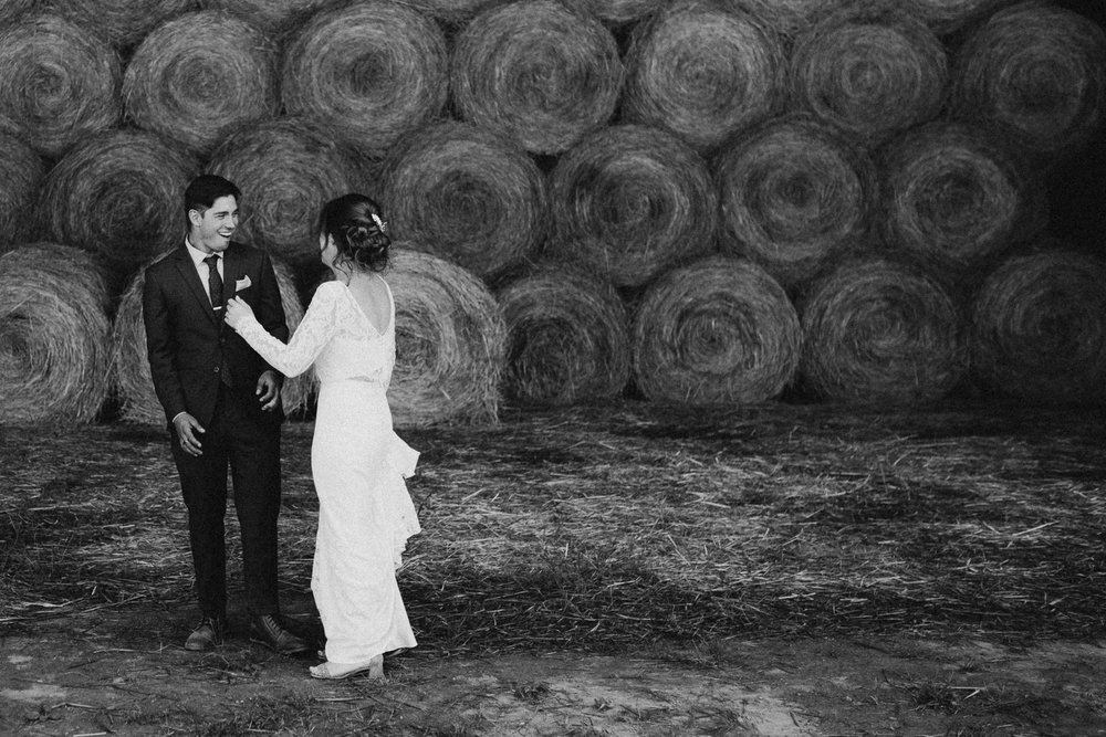 Couples First look Pemberton Valley farm wedding