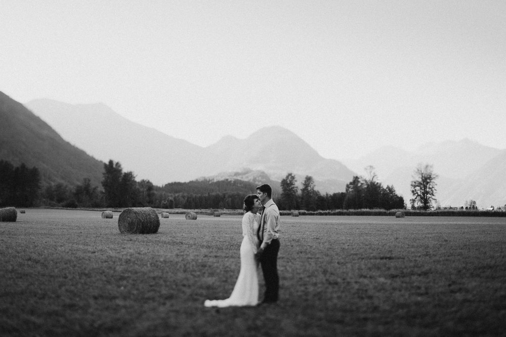 Couple embraces at Pemberton farm wedding