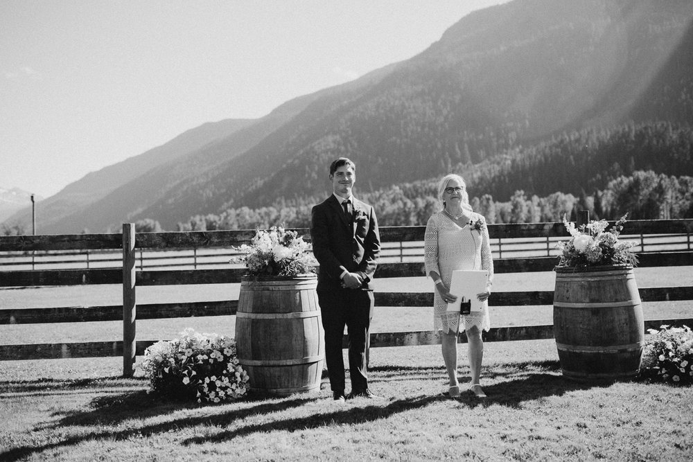 Wedding ceremony Pemberton Valley farm wedding