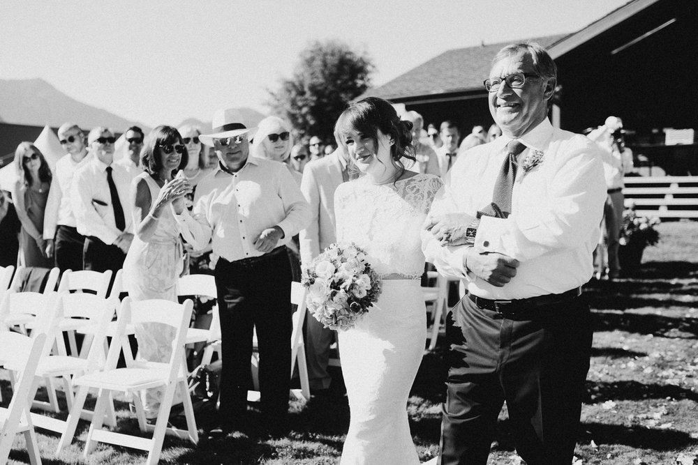 Bride with Father down isle Pemberton Farm Wedding