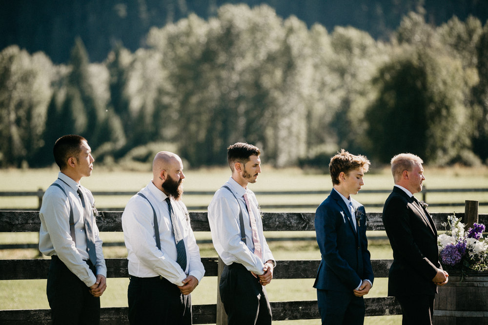 Groomsmen at ceremony Pemberton farm wedding